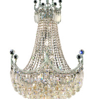 Elegant Lighting - 8949 Corona Collection Hanging Fixture D24in H32in Lt:18 Chrome Finish (Royal Cut Crystal)