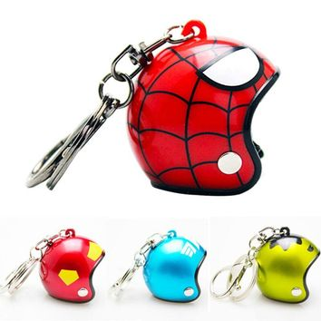 Motorcycle Helmet Keychain Spiderman ironman Captain Cartoon Pendant Classic Key Ring Knight Hat Car Keychain men women