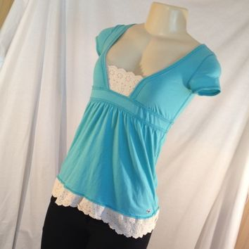 Hollister Blue Lace Babydoll Top