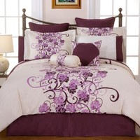 Pointehaven Printed Grapevine 3-Piece 100-Perent Combed Cotton King Duvet Set