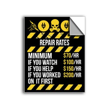 "FREE SHIPPING - ""Electrical Repair Rates"" Vinyl Decal Sticker (5"" tall) - Limited Time Only!"