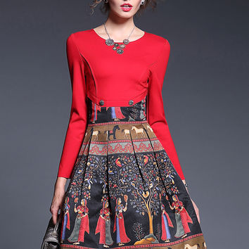 Red Tree Print Long Sleeve Pleated Dress