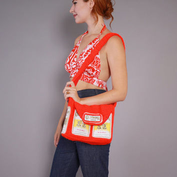 Vintage 70s BEER Can PURSE / 1970s OLYMPIA Beer Can Red Knit Shoulder Bag