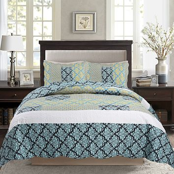 Tache 2-3 Piece Damask Turquoise Reversible Bedspread Set (SD-3300)