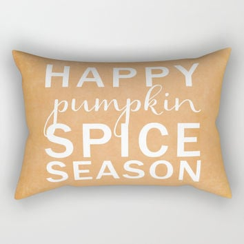 happy pumpkin spice season orange Rectangular Pillow by Sylvia Cook Photography