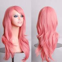 Anime Wig Synthetic Hair Long Curly Wave Cosplay Wig Pink