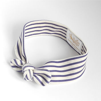 Organic navy stripe headband