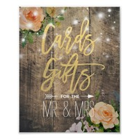 Wood Floral String Lights Cards Gifts Wedding Sign