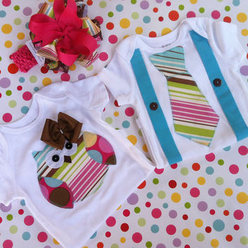 Twins Owl Applique Set-Boy and Girl Matching Set-Baby Girl & Boy Apparel-M2M Hair Bow-Baby Shower Gift