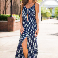 Geo To The Beach Maxi Dress, Navy
