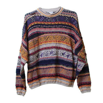 80s Cosby Sweater Geometric Coogi Style