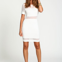 SHEER NEOPRENE SHIFT DRESS - White neoprene dress with sheer bands of mesh
