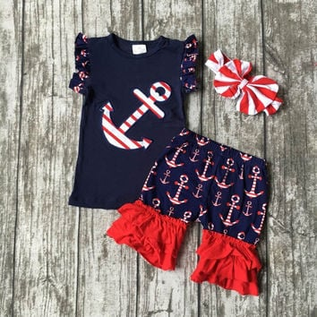 Anchor's Away! Girls Boutique summer shorts outfit with headband (navy & red)