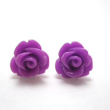 Purple rosette earrings bright purple roses on by LazyOwlBoutique