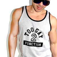 Too Gay 2 Function Racerback Tank- Grey