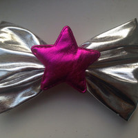 90s Holographic Star Hair Bow Grunge Pink Silver Space Age Gothic Harajuku
