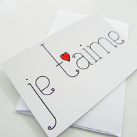 Romantic Greeting Card Je T'aime I Love You French Valentines Day Card
