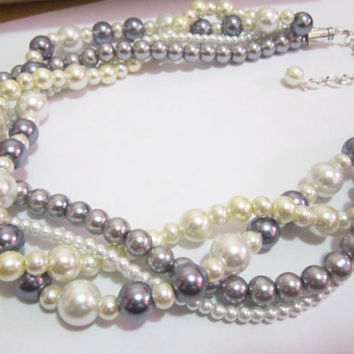 Ivory, white and gray pearl necklace- wedding necklace, multi strand bridesmaid necklace, bridesmaid jewelry