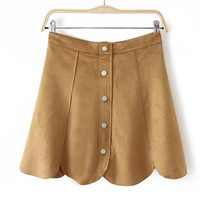 Camel Soft Suede Front Buttons Mini Skirt