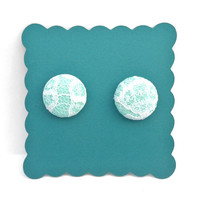 Aqua with Lace Overlay Button Stud Earrings by AquaGiraffe on Etsy