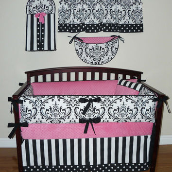 Reserved for DEANNA V., Baby Girl Crib Bedding 6pc Set, Pink , Black and Whte Damask