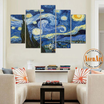 5 Panel Canvas Art Van Gogh Oil Painting Reproductions Apricot Flower Starry Night Wall Pictures Canvas Prints Unframed