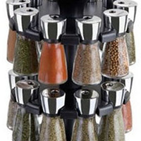Cole & Mason Herb and Spice Carousel rack with 20 Glass Jars and Spices