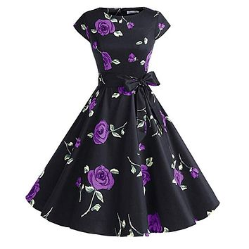 Vintage Inspired Cap Sleeve Dress, Size XS - 3XL, Purple Black Floral