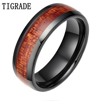 TIGRADE Trendy 6 mm Red Wood Grain Ceramic Ring For Men Women Wedding Band High Polished Edges Party Classic Finger Jewelry