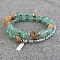 Balance and Protection, Aventurine and Jasper 27 Bead Wrap Mala Bracelet