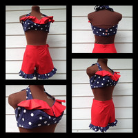 2pc 1950's vintage style rockabilly pinup romper play suit