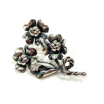 Silver Bouquet Brooch, Sterling Silver Retro Flower Brooch, Dogwood & Calla Lily Flowers, 1940s, Artisan Retro Vintage Jewelry