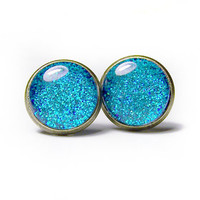 Glitter Earrings, Turquoise Glitter Posts, Glitter Glass Dome Earrings