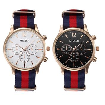 MiGEER Canvas Mens Watches Top Brand Luxury Analog Quartz Watch for man Big Dial 3 Eyes Mens Watch Nice Relogio Masculino