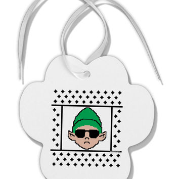 Cool Elf Christmas Sweater Paw Print Shaped Ornament