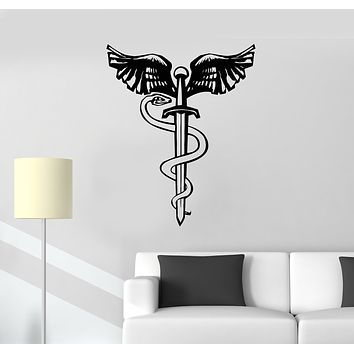 Vinyl Wall Decal Snake Bird Wings Sword Dagger Mythology Symbol Stickers Mural (g411)