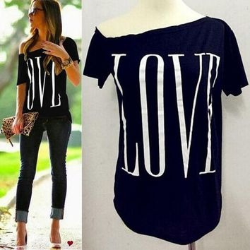LMFYN6 Women cute LOVE letters print T shirt short sleeve off shoulder shirts camisas femininas casual solid plus size tops