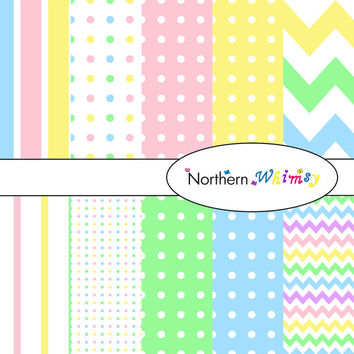 Digital Scrapbooking Paper Background Set – Pastel Rainbow Colors , stripe , chevron , and polka dot  patterns INSTANT DOWNLOAD