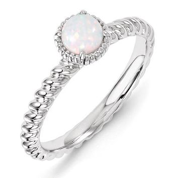 Sterling Silver Stackable Expressions Round Created Opal Ring