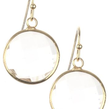 Clear Round Cut Faceted Lucite Stone Earring