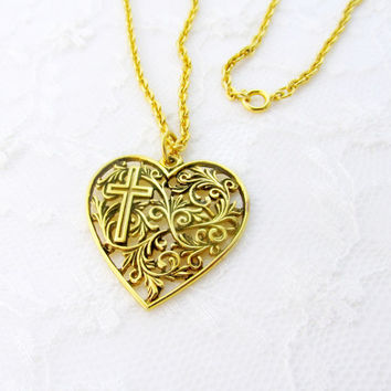 Art Nouveau Heart And Cross Pendant Necklace Open Filigree Floral Gold Tone Metal Vintage Collectible Gift Item 2139