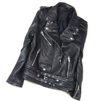 Real Leather Jacket Women Sheepskin Genuine Punk Rock Real Leather Jacket Rivet Motorcycle Biker Womens Coat