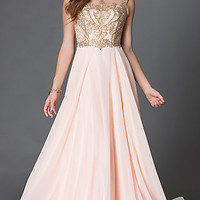 Floor Length Sleeveless Prom Dress 9266 with Embroidered Lace Bodice
