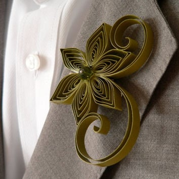 Olive Boutonniere, Olive Green Buttonhole, Olive Wedding Boutonniere