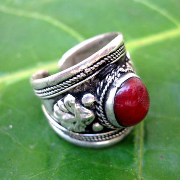 FREE SHIPPING Adjustable Nepali Tibetan Ring,Dorje Amulet Ring,Nepalese,Bohemian Jewelry,Gemstone Stacking Ring,Ethnic Ring,Gypsy Boho Ring