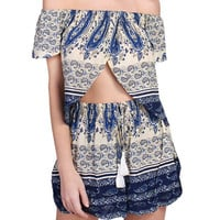 2 Piece  Crop Top And Shorts Set  Boho