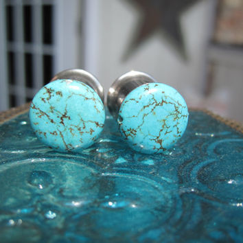 "Pair of Turquoise Bead Plugs - Girly Gauges - 2g, 0g, 00g, 7/16"", 1/2"", 9/16"", 5/8"", 3/4"", 1"""