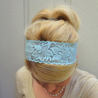 Winter blue stretch lace headband  by VintageBowBoutique on Etsy