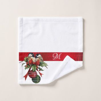 Christmas, Chickadees, Red Ribbon, Monogram Bath Towel Set