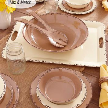 Farmhouse Melamine Dinnerware Set Serving Bowls or Tray Solid Neutral Colors